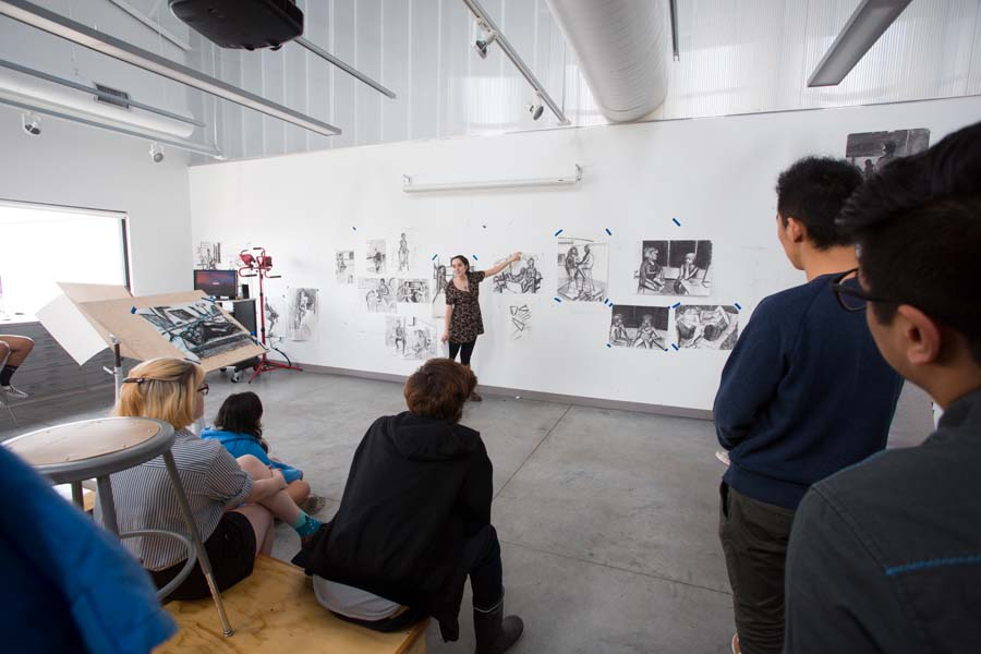 Drawing class in the Whitcomb Art Center at Knox College.