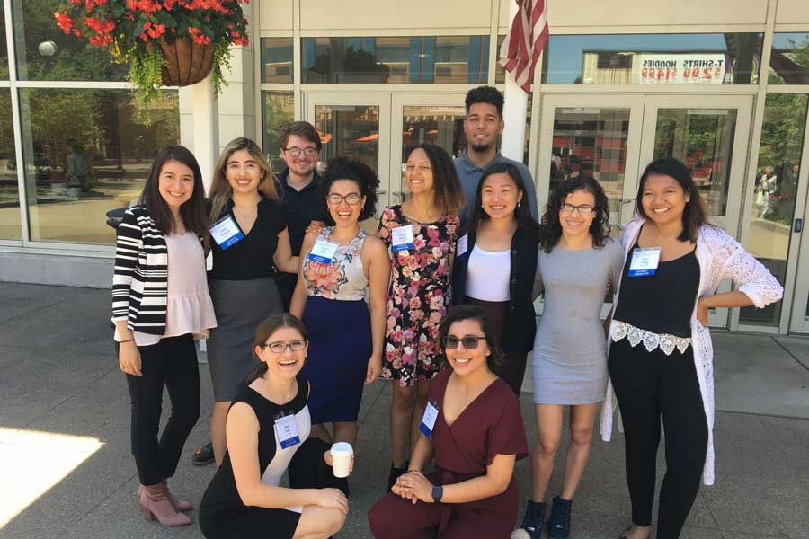 McNair Scholars pose outside the national conference after presenting their research.