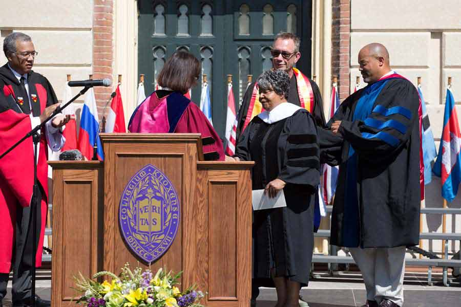 Knox College confers an honorary Doctor of Humane Letters degree to civil rights icon Elizabeth Eckford, a member of the Little Rock Nine.