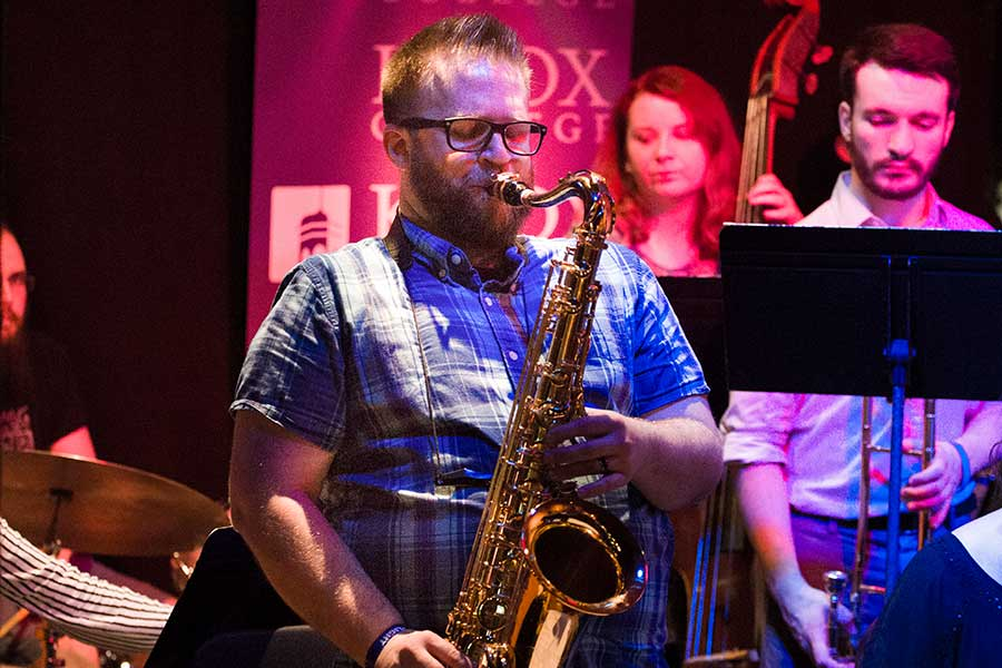 The Knox-Rootabaga Jazz Festival offered performances by Greg Ward & 10 Tongues and Matt Ulery's Loom with the Knox-Galesburg Symphony String Quartet, as well as performances by the Knox Alumni Big Band, Faculty and Friends Combo, and the Knox Jazz Ensemble.