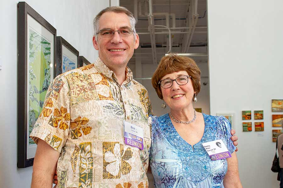 Nancy Miller Staszak '69 and Benjamin Calvert III '89 came back for Homecoming and presented their artwork at a joint reception.