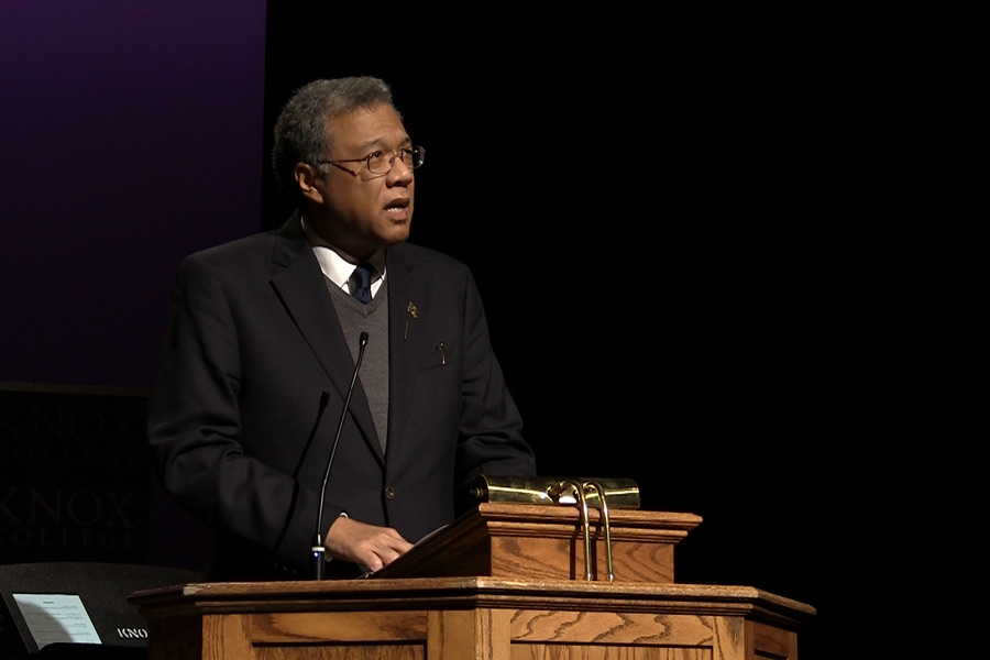 "Dr. Martin Luther King Jr. ""showed us how to be better citizens,"" Konrad Hamilton, Burkhardt Distinguished Chair in History, said in the King Day 2019 Winter Term Convocation address."