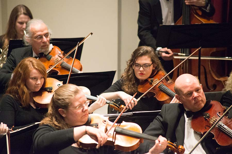 Knox students have often learned from the experienced musicians in the Knox-Galesburg Symphony.