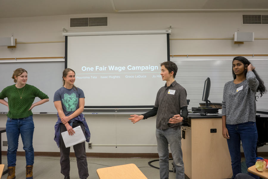 Students give panel presentation on the One Fair Wage Campaign.