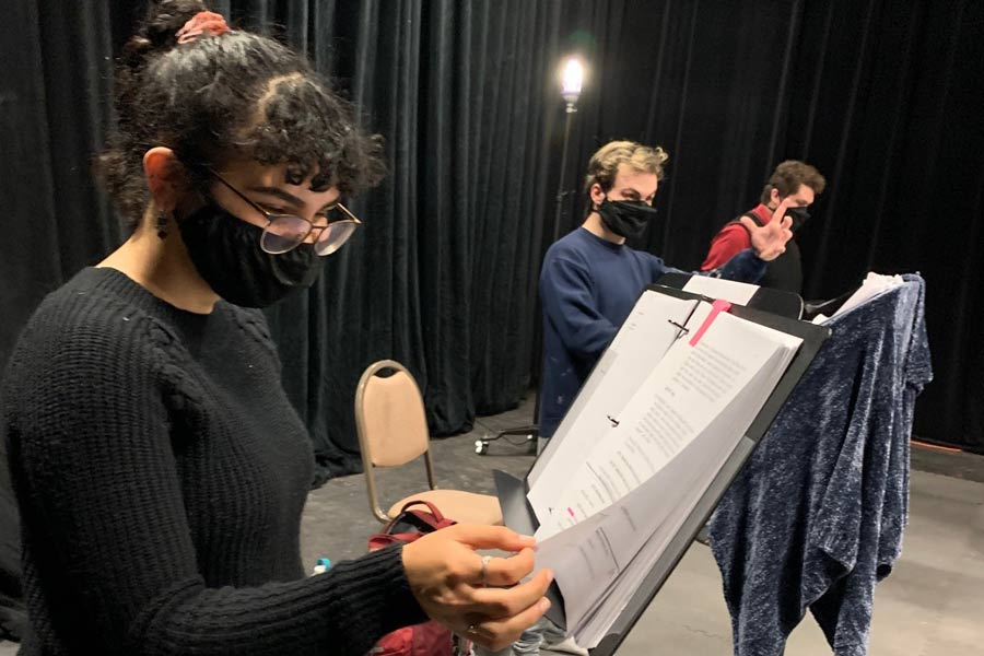 Students rehearse the Knox Theatre production of Dracula the radio play