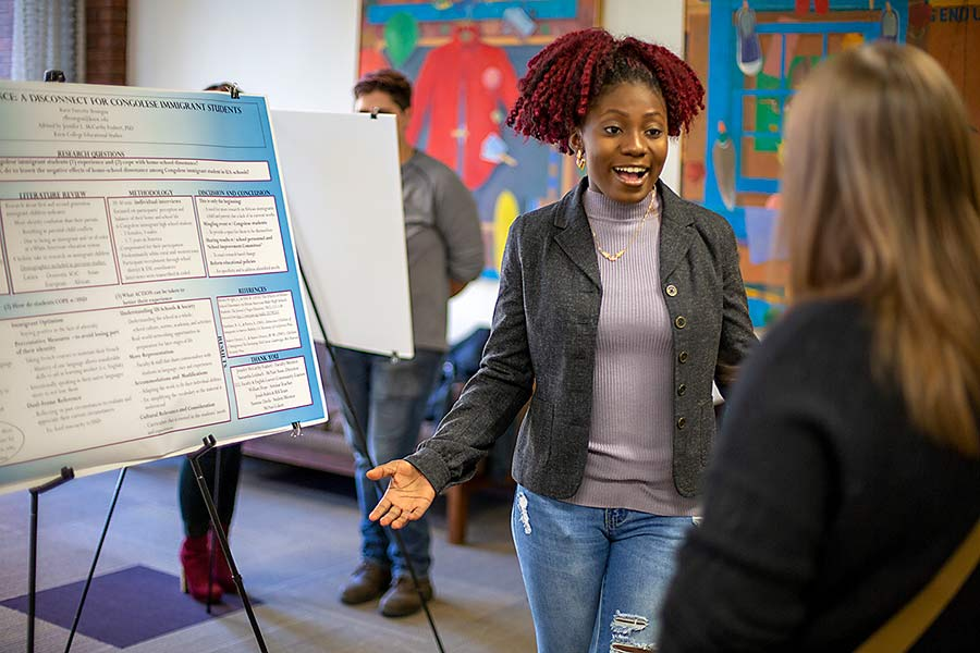 Ravie Boungou '20 studied the dissonance between home and school life for Congolese immigrants in her McNair research.