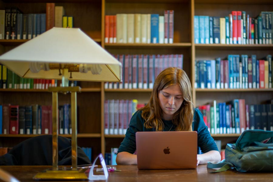 Student studying in Seymour Library
