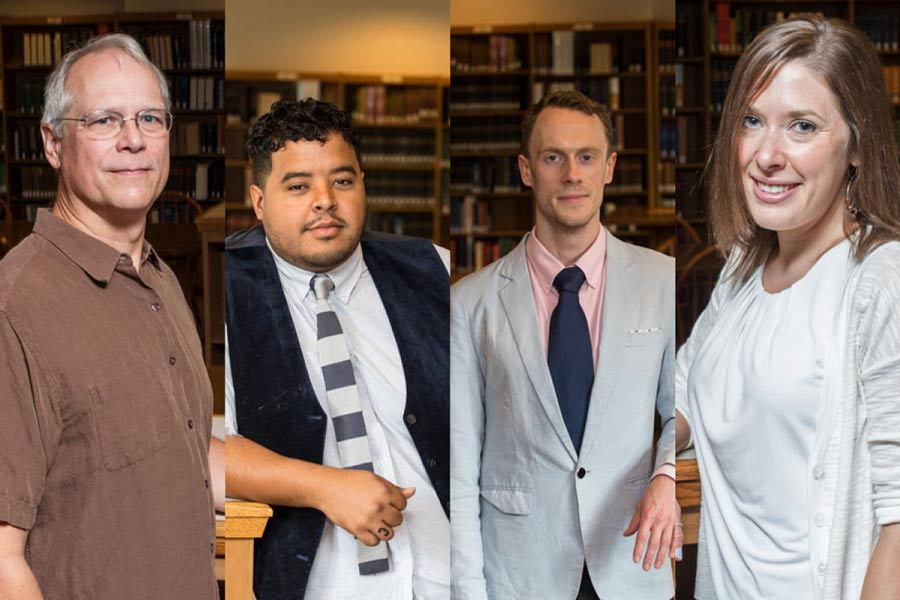 Newly tenured faculty Scott DeWitt, Nathaniel Williams, Ben Farrer, and Sara O'Brien