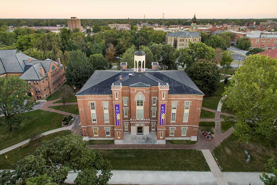 A bird's-eye view of Old Main.