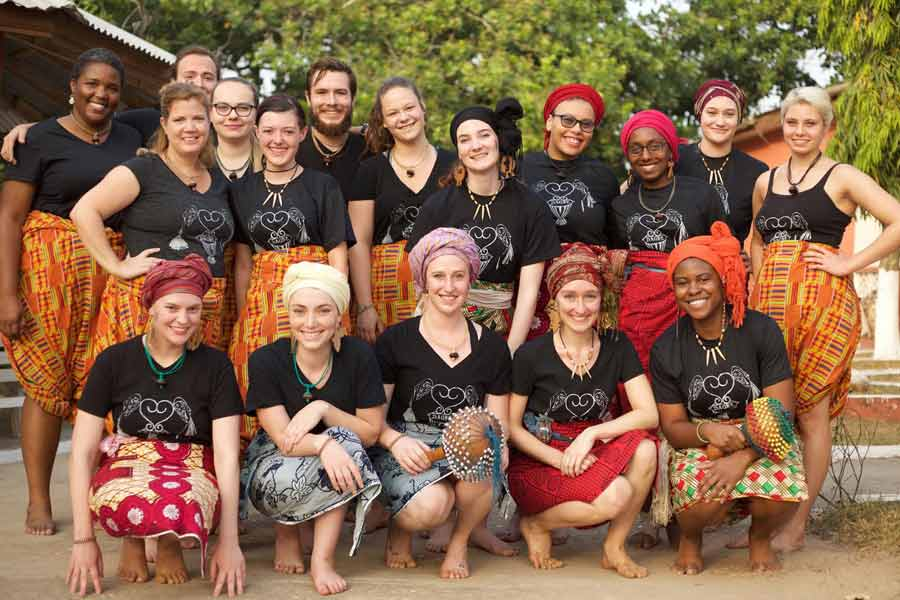Students participated in Drumming and Dance in Ghana, an intensive program  that taught them traditional Ghanaian drumming and dance.